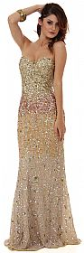 Strapless Exquisitely Sequined Long Formal Prom Dress  #10133