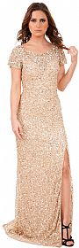 Short Sleeves Cutout Back Long Sequined Formal Prom Dress #10189