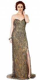 Strapless Floral Beads & Sequins Long Formal Prom Dress #10232
