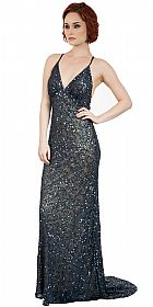Spaghetti Straps V-Neck Sequins Long Formal Prom Dress #10233