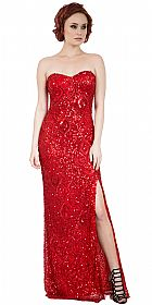 Strapless Sweetheart Sequins Long Formal Prom Dress #10234