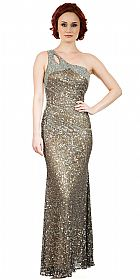 One Shoulder Sparkling Beads & Sequins Long Prom Dress #10235