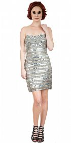 Strapless Mirror Sequins & Beads Short Prom Party Dress #10236