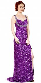 Broad Straps Front Slit Sequined Long Formal Prom Dress #10237