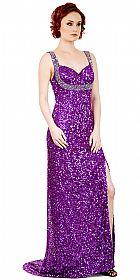 Broad Straps Front Slit Sequined Long Formal Prom Dress #10237