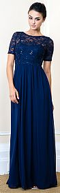 Sequins Lace Bodice Half Sleeves Long Formal Evening Dress. #11487