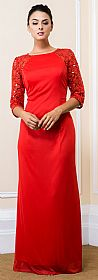 Sequin Lace Sleeves Full Length Formal Bridesmaid Dress #11515