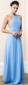 Halter Neck Long Formal Maxi Dress with Waist & Neck Tie #11520
