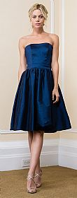 Strapless Solid Color Knee Length Bridesmaid Party Dress #11521