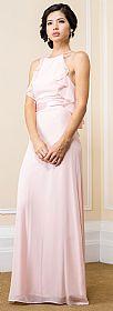 Halter Neck Ruffled Bodice Long Bridesmaid Dress #11523