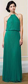Pleated Halter Neck Blouson Top Long Formal Dress #11531
