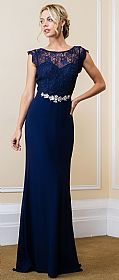 Lace Bodice Bejeweled Waist Long Formal Evening Dress #11567