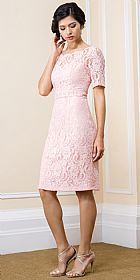 Boat Neck Half Sleeves Knee Length Lace Formal Evening Dress #11568