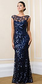 Boat Neck Sequins Pattern Mesh Long Formal Prom Dress #11569