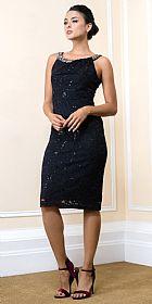 Knee Length Bejeweled Neck Lace Formal Cocktail Dress #11572