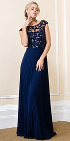 Boat Neck Sequins Mesh Top Pleated Long Formal Evening Dress #11576