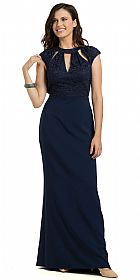 Lace Top Cutout Neckline Open Back Formal Evening Gown #11788