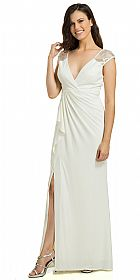 V-Neck Sequins Accent Gathered Waist Formal Evening Gown #11790