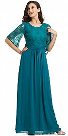 Lace Top Pleated Waist 3/4 Sleeves Bridesmaid Evening Gown  #11795