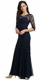Round Neck Chiffon Panel Details Lace Formal Evening Gown  #11815