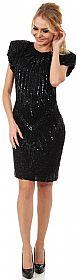 Wide Shoulders Sequined Short Formal Party Dress. #2628