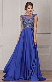 Embellished Sheer Top Long Prom Pageant Satin Dress #a238