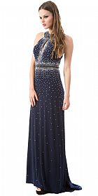 High Neck Sparkling Rhinestones Long Prom Pageant Dress #a250