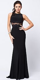 Sleeveless Lace Motif Fitted Jersey Long Formal Prom Dress #a363
