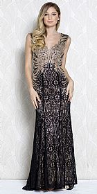 Gold Lace Accent Artistic Pattern Long Prom Pageant Dress #a369