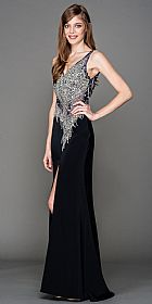 V-Neck Mesh Bejeweled Bodice Long Prom Pageant Dress #a443