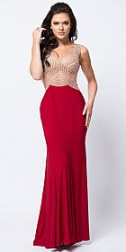 V-Neck Embellished Bodice Sheer Back Long Prom Dress #a448
