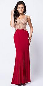 V-Neck Embellished Bodice Sheer Back Long Prom Dress #a448