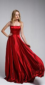 A-Line Spaghetti Prom Gown with Long Flowing Skirt #a472