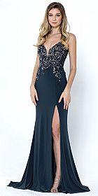 Deep V-Neck Bejeweled Bodice Front Slit Long Prom Dress #a572