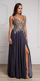 Beaded Embellished Spaghetti Prom Dress #a578