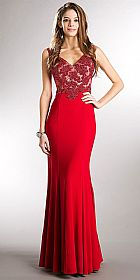 V-neck Beaded Bodice Fitted Long Formal Prom Dress #a740