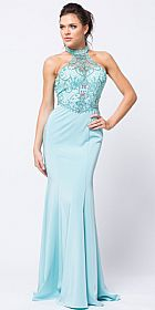 Beaded Halter Mesh Top Flared Skirt Long Prom Dress #a758