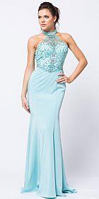 Beaded Halter Mesh Top Flared Skirt Long Prom Dress #a758