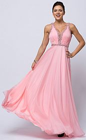 Sequined Shirred Bodice A-line Chiffon Long Prom Dress #a760