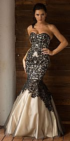 Strapless Ribbon Pattern Mesh Mermaid Long Prom Dress #a762