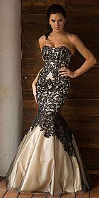 Strapless Ribbon Pattern Mesh Mermaid Long Prom Dress #a762