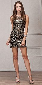 Elegant Gold Embroidery Short Party Bridesmaid Dress #a765