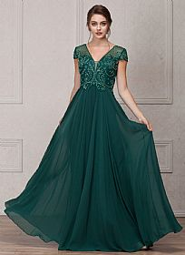Short Sleeves V-Neck Sequined Bust Long Formal Evening Dress #a767