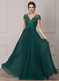 Short Sleeves V-Neck Sequined Bust Long Formal Evening Dress #a767