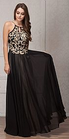 Gold Accent Keyhole Mesh Bust Long Formal Evening Dress #a768