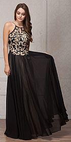 Gold Accent Keyhole Mesh Bust Long Formal Evening Dress #a768