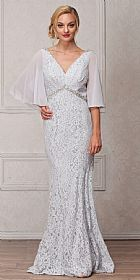 V-Neck Floral Lace Sheer Cape Long MOB Gown #a769