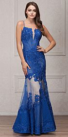 Spaghetti Straps Sequins Lace Mesh Long Prom Pageant Gown #a771