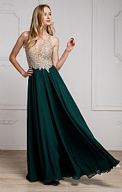 Sequined Plunging Neckine Prom Gown #a784