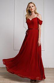 Spaghetti Straps Cold-shoulder Long Bridesmaid Dress #a824